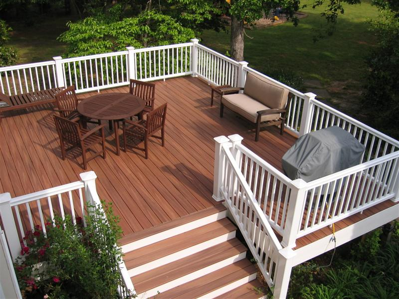 Composite decking and rails for Staining trex decking